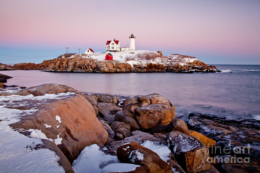 Nubble Winter Dusk Photograph