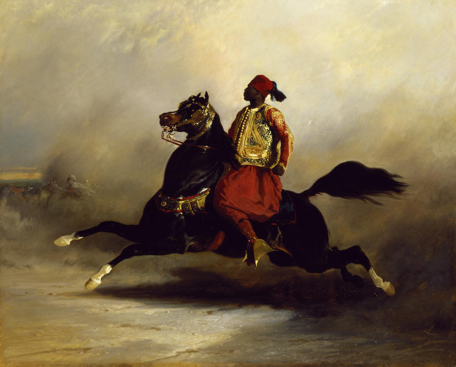 Nubian Horseman At The Gallop Painting