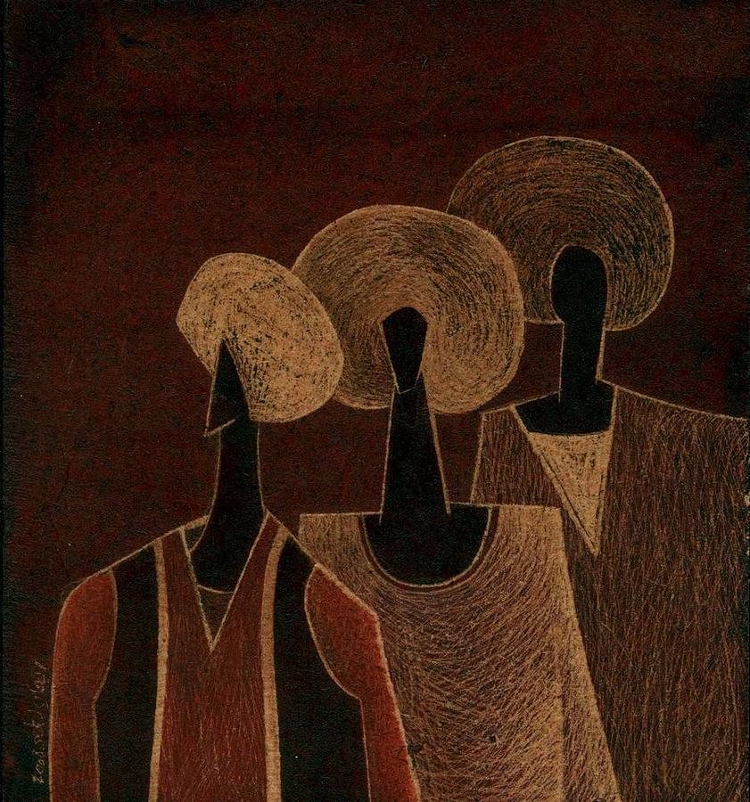 Nubians by ehab lotfi for Egyptian fresco mural painting
