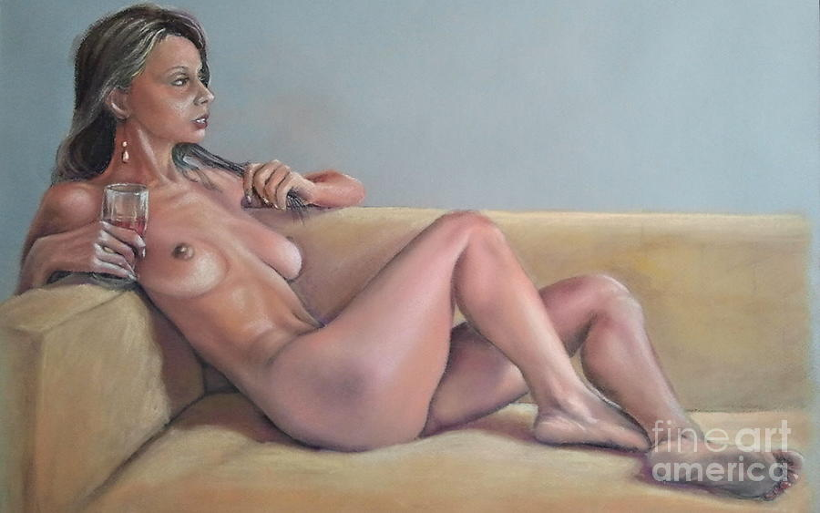 Nude And Red Wine Painting  - Nude And Red Wine Fine Art Print