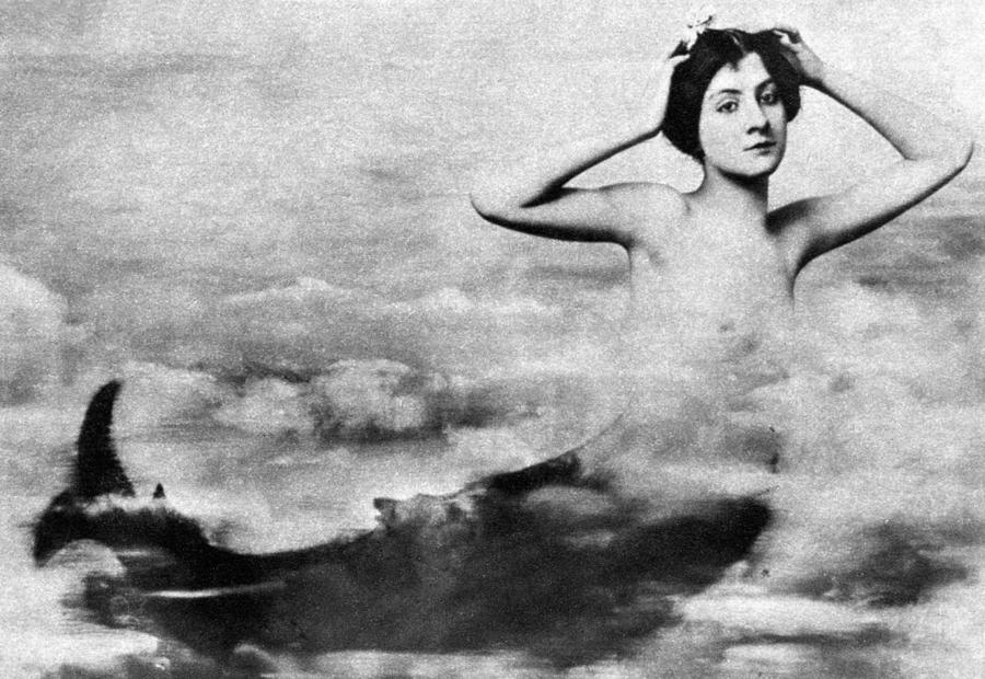 Nude As Mermaid, 1890s Photograph  - Nude As Mermaid, 1890s Fine Art Print