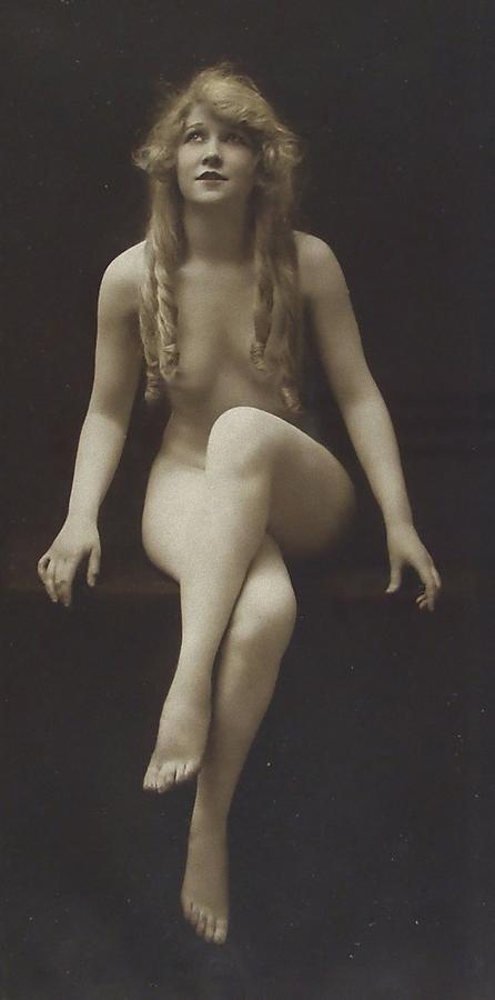 Girl Woman Female Nude Nakes Erotic Sexy Beauty Long Hair Sitting Vintage Sw Bw Black White Photograph Legs Breast Boobs Pyrography - Nude Girl 1915 by Steve K