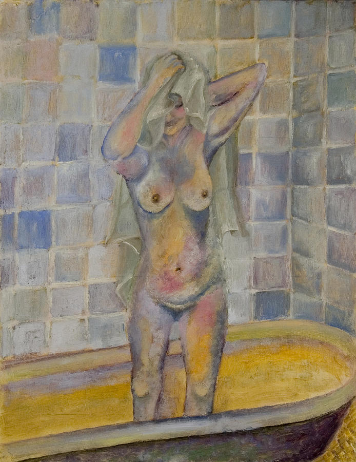 Nude In Bath Painting