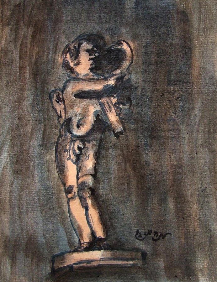Nude Sculpture Young Boy And Pet Duck Religious Symbolism In Orange And Blue Vatican City Painting
