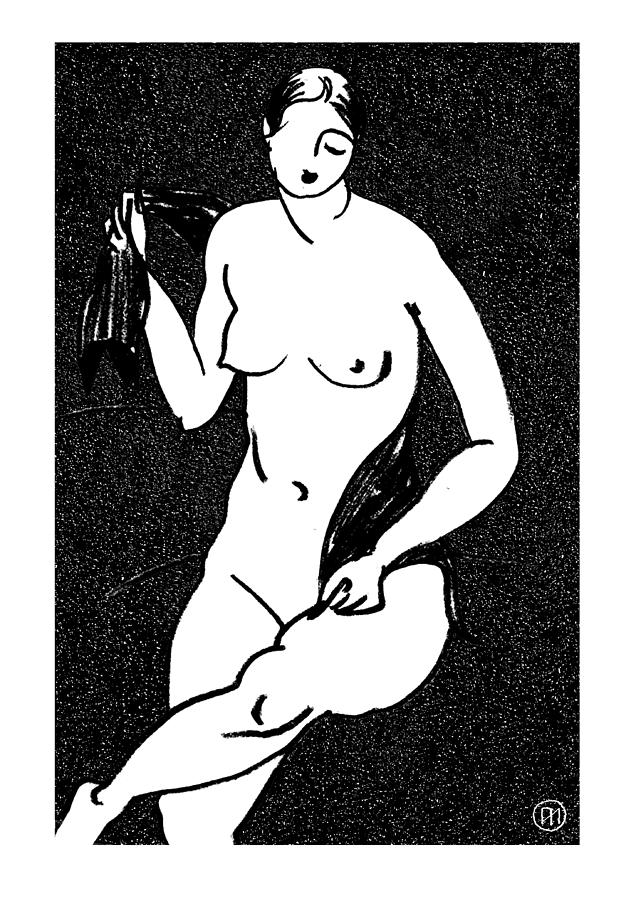 Nude Sketch 12 Drawing  - Nude Sketch 12 Fine Art Print