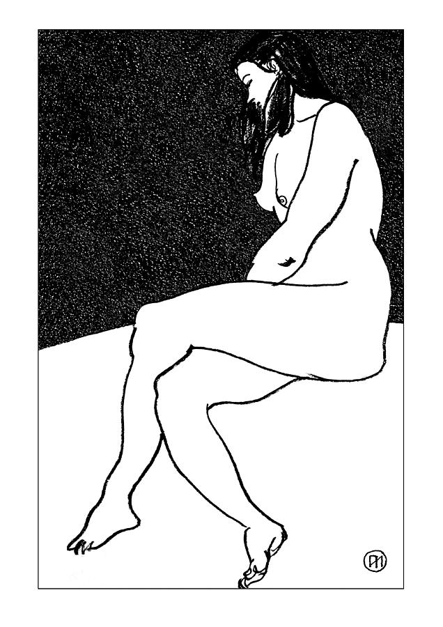 Nude Sketch 26 Drawing  - Nude Sketch 26 Fine Art Print