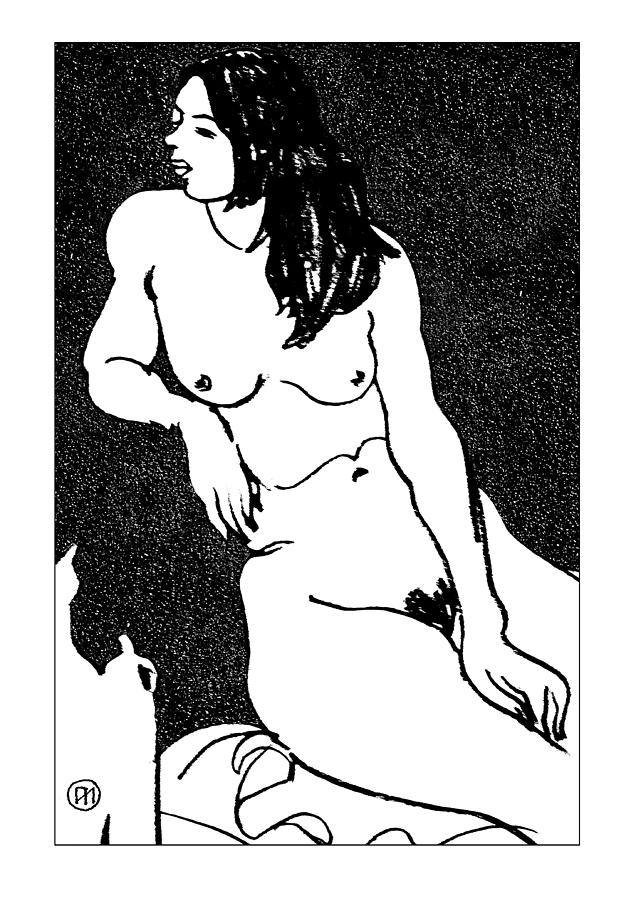 Nude Sketch 32 Drawing  - Nude Sketch 32 Fine Art Print