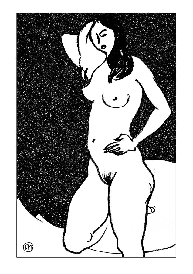 Nude Sketch 47 Drawing  - Nude Sketch 47 Fine Art Print