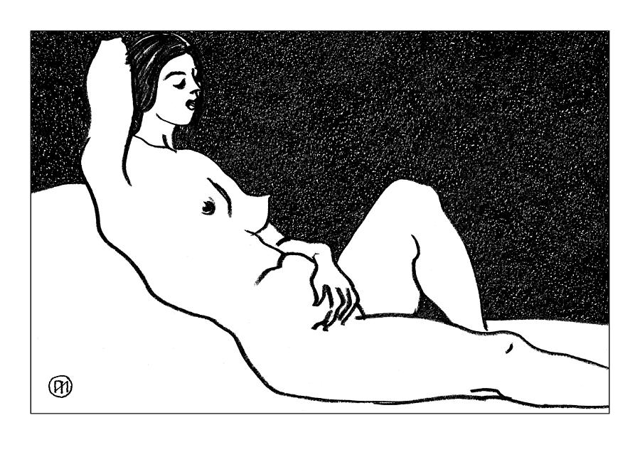 Nude Sketch 61 Drawing  - Nude Sketch 61 Fine Art Print