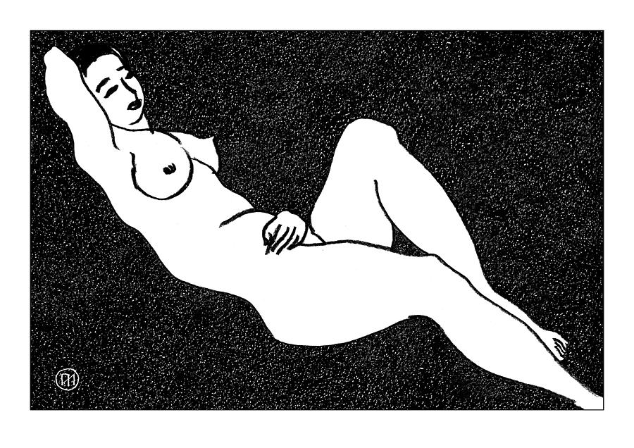 Nude Sketch 66 Drawing  - Nude Sketch 66 Fine Art Print