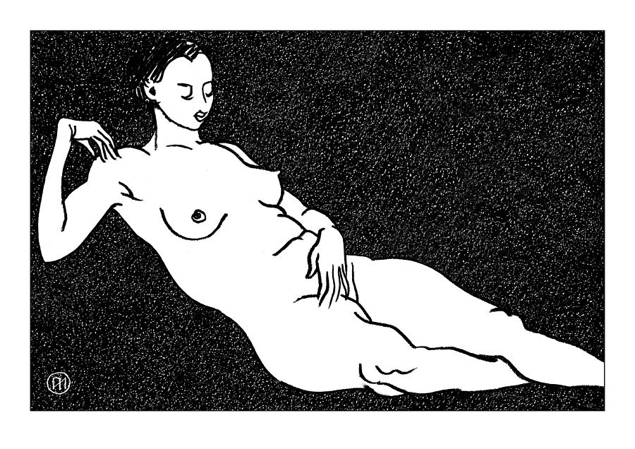 Nude Sketch 68 Drawing  - Nude Sketch 68 Fine Art Print
