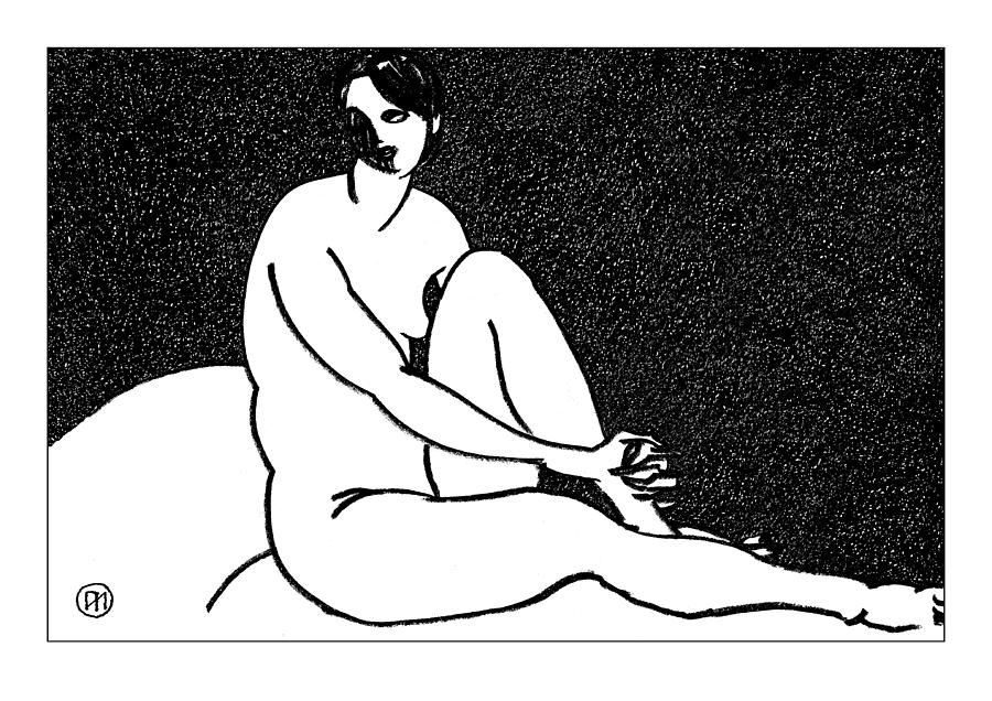Nude Sketch 69 Drawing  - Nude Sketch 69 Fine Art Print