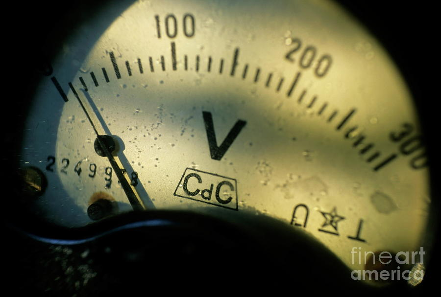 Numbers On The Dial Of A Voltmeter Photograph