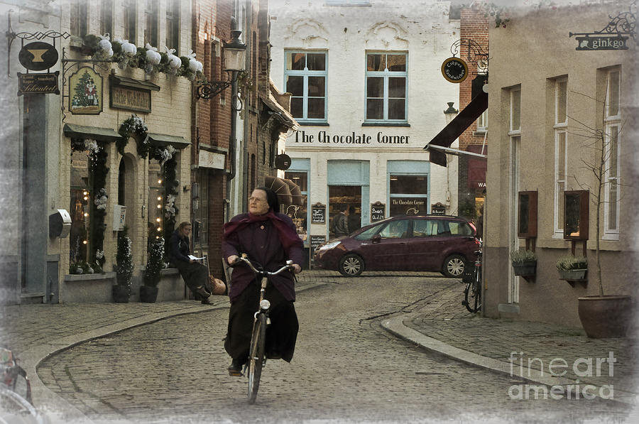 Nun On A Bicycle In Bruges Photograph  - Nun On A Bicycle In Bruges Fine Art Print