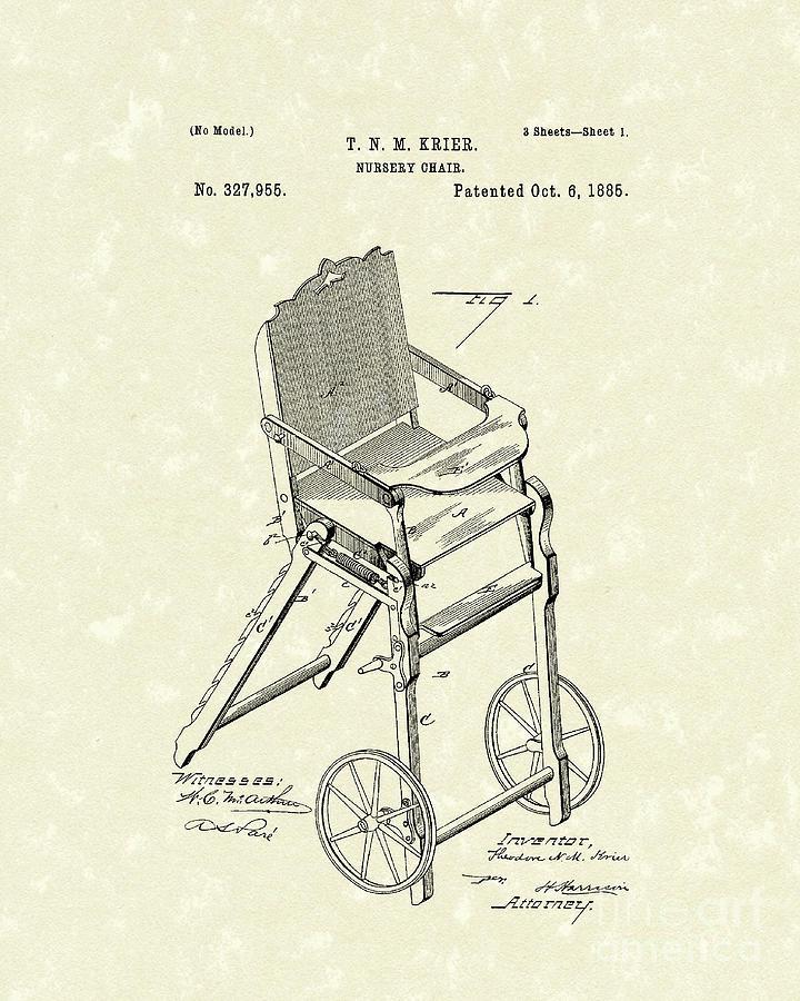 Krier Drawing - Nursery Chair 1885 Patent Art by Prior Art Design