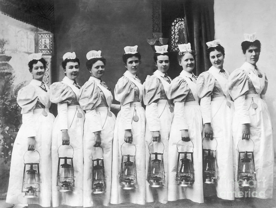 Nurses On Night Rounds 1899 Photograph