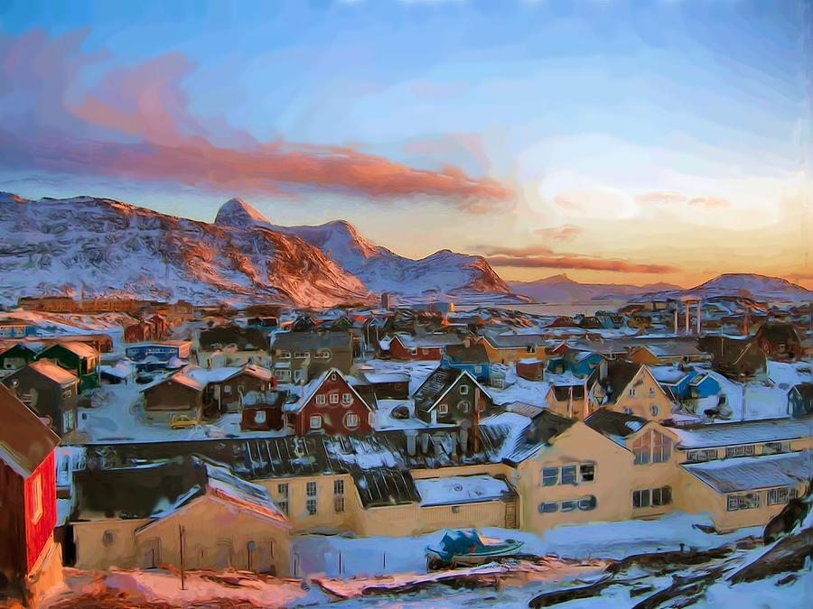 Nuuk City At Noon  Digital Art  - Nuuk City At Noon  Fine Art Print