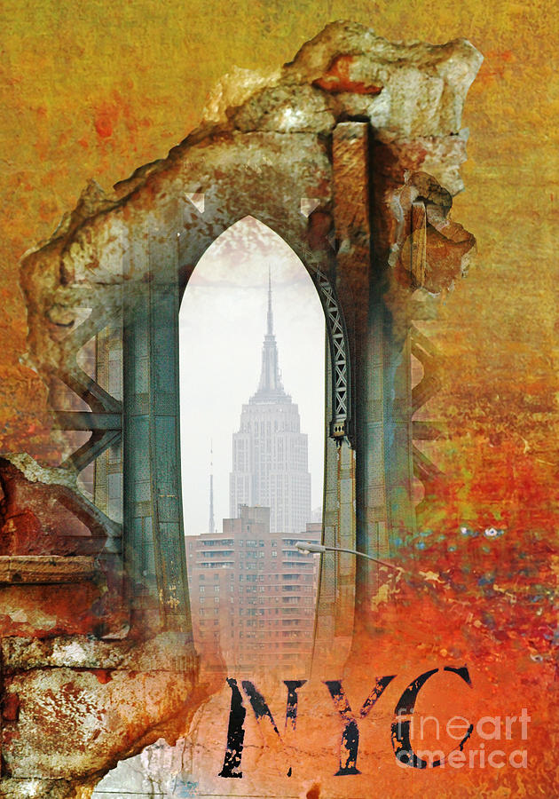 Nyc Empire State Art Abstract Painting  - Nyc Empire State Art Abstract Fine Art Print