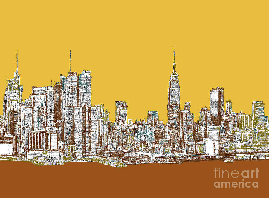 Nyc In Mustard Drawing  - Nyc In Mustard Fine Art Print