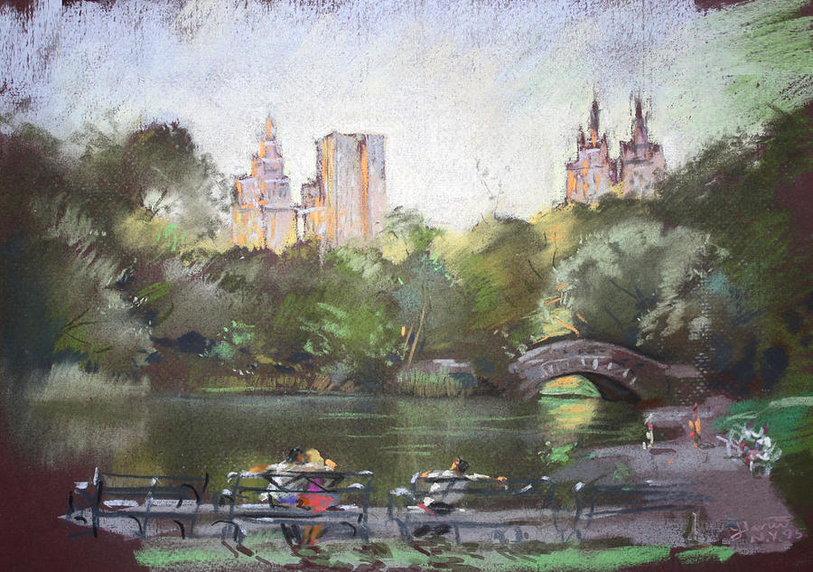 Nyc Resting In Central Park Pastel  - Nyc Resting In Central Park Fine Art Print