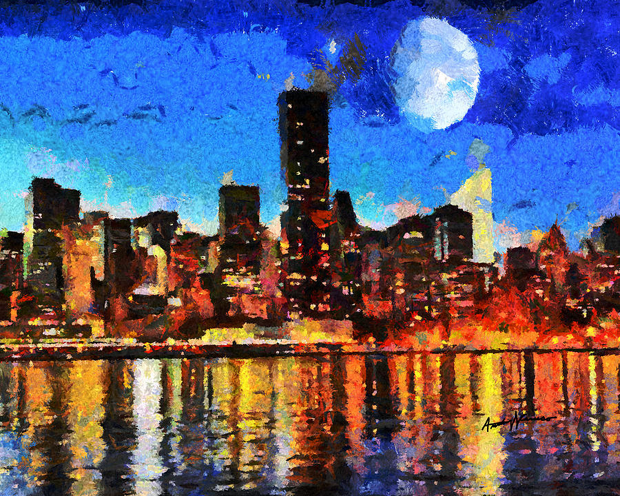 Nyc skyline at night by anthony caruso for New york skyline painting
