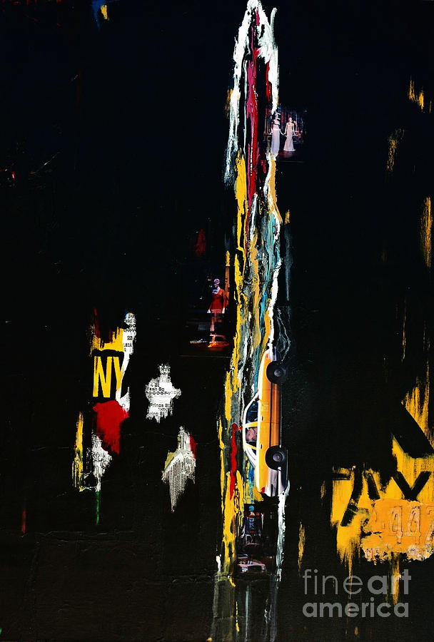 Nyc Taxi Abstract Painting  - Nyc Taxi Abstract Fine Art Print