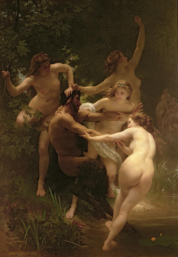 Nymphs And Satyr Painting  - Nymphs And Satyr Fine Art Print