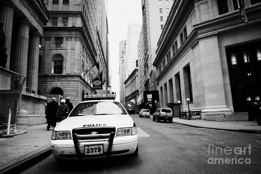 Nypd Police Patrol Car Parked In Wall Street Downtown New York City Photograph  - Nypd Police Patrol Car Parked In Wall Street Downtown New York City Fine Art Print
