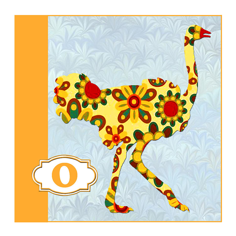 O Is For Ostrich Painting  - O Is For Ostrich Fine Art Print