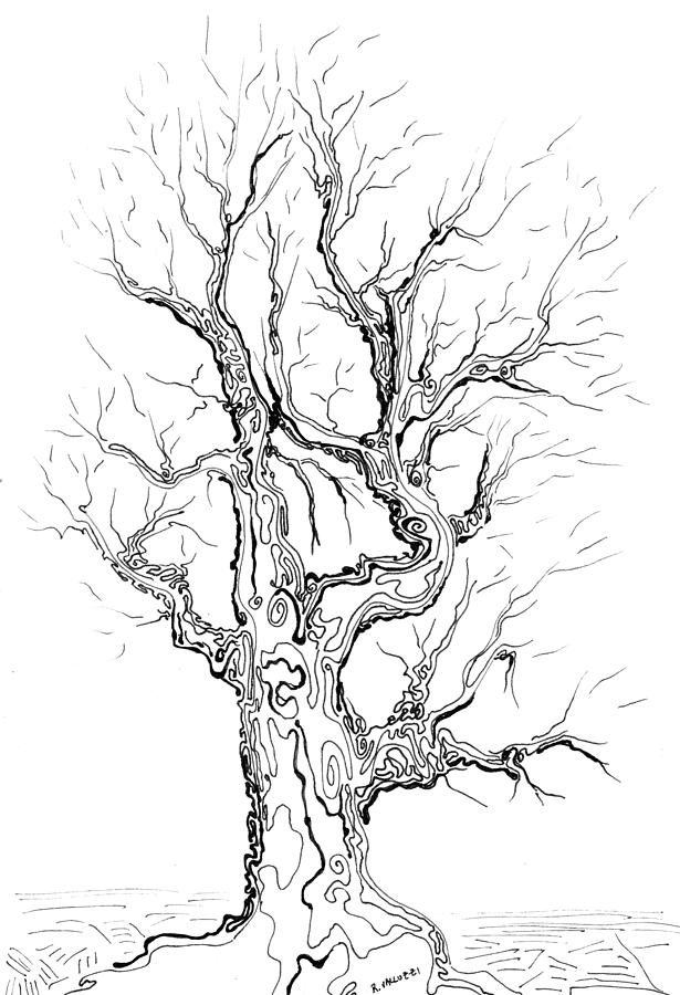 Oak Tree Abstract Study Painting