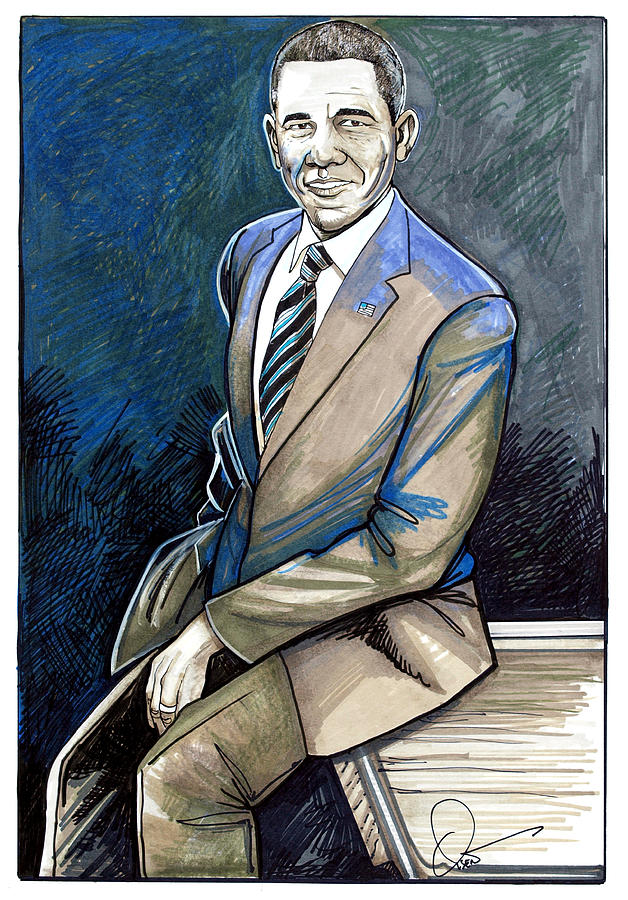 Obama 2012 Drawing  - Obama 2012 Fine Art Print