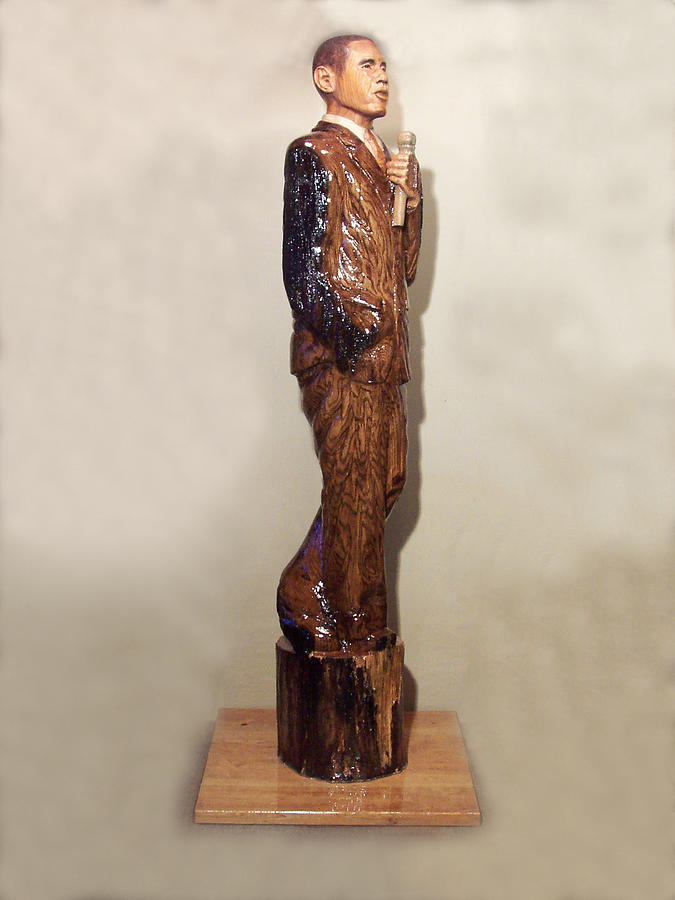 Obama In A Red Oak Log Sculpture