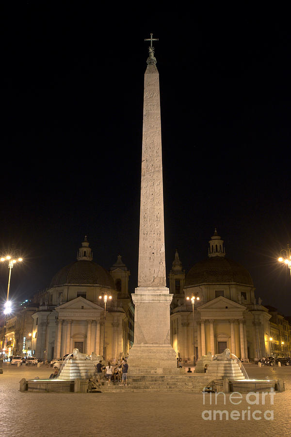 Obelisco Flaminio And Twin Churches By Night Photograph