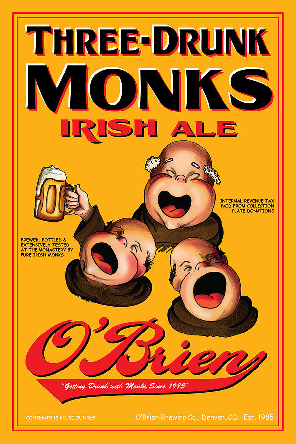 Obrien Three Drunk Monks Drawing  - Obrien Three Drunk Monks Fine Art Print