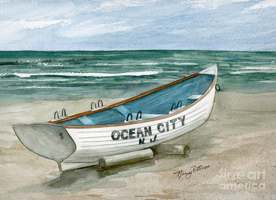Ocean City Lifeguard Boat Painting