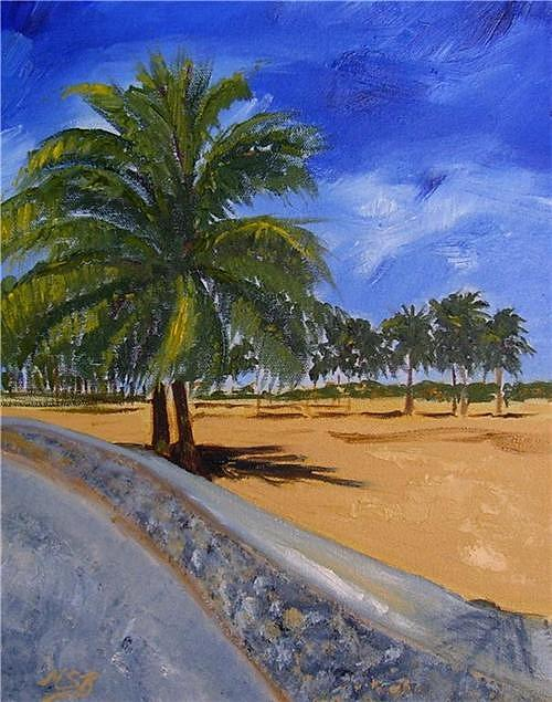 Ocean Drive Palms Painting