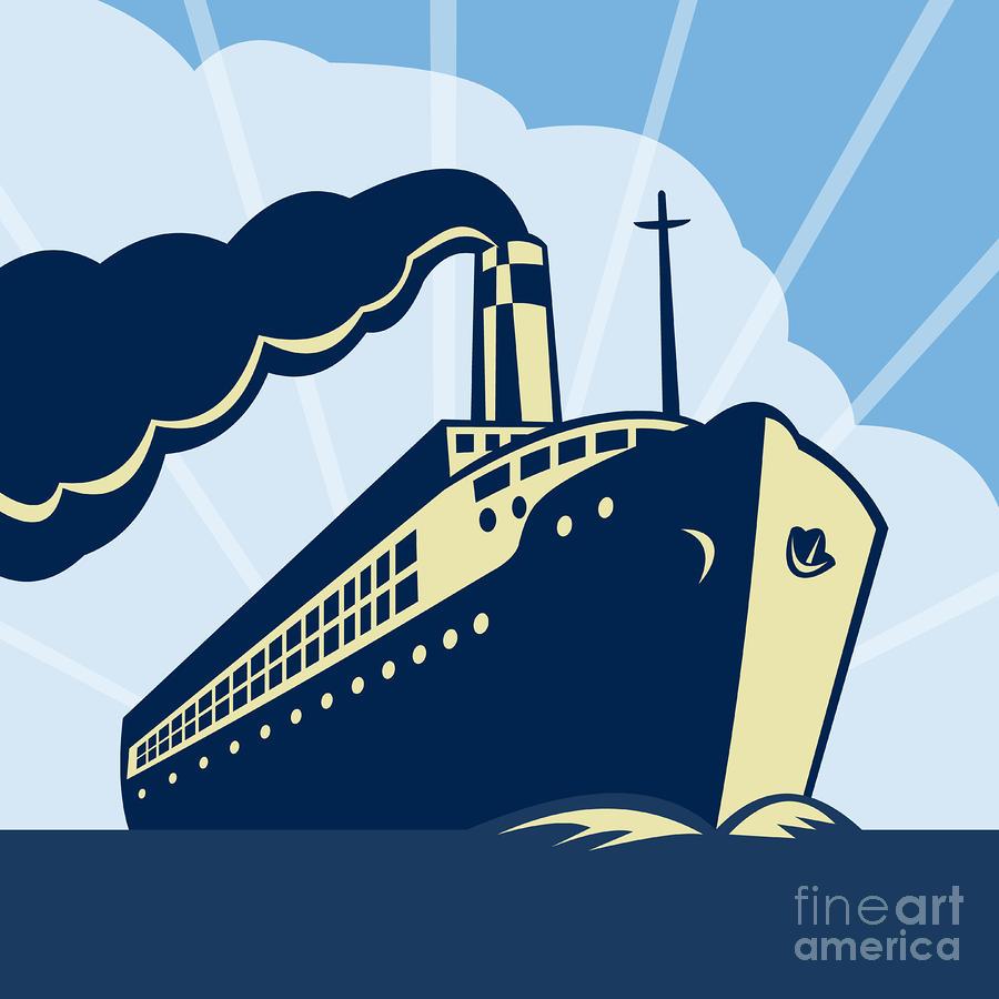 Ocean Liner Boat Digital Art