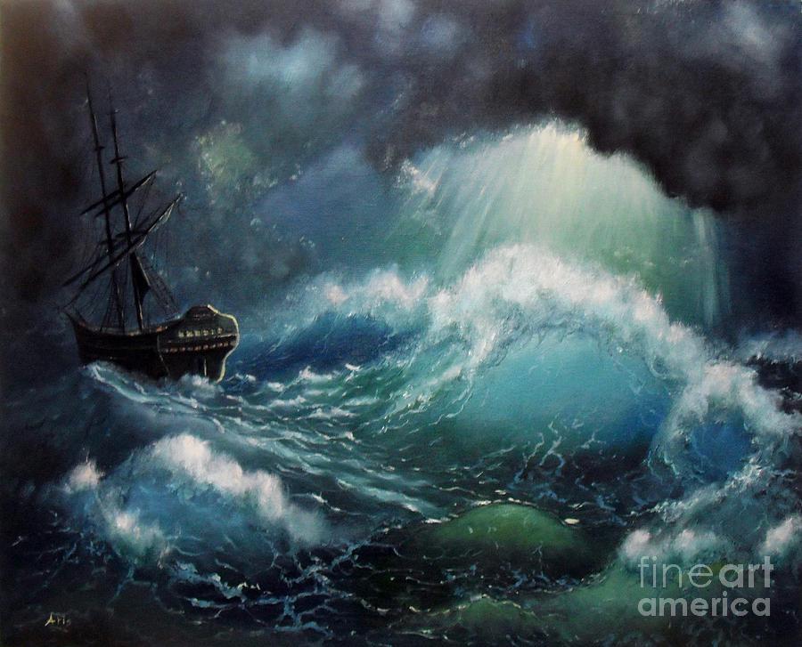Ocean Storm Light Painting - Ocean Storm Light Fine Art Print