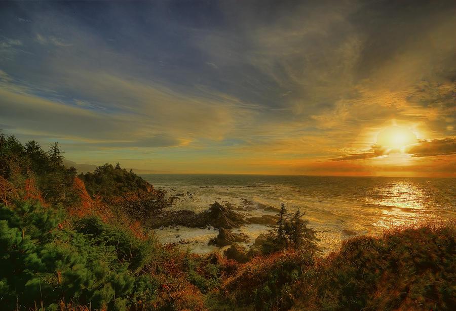 Ocean Sun Rays Photograph