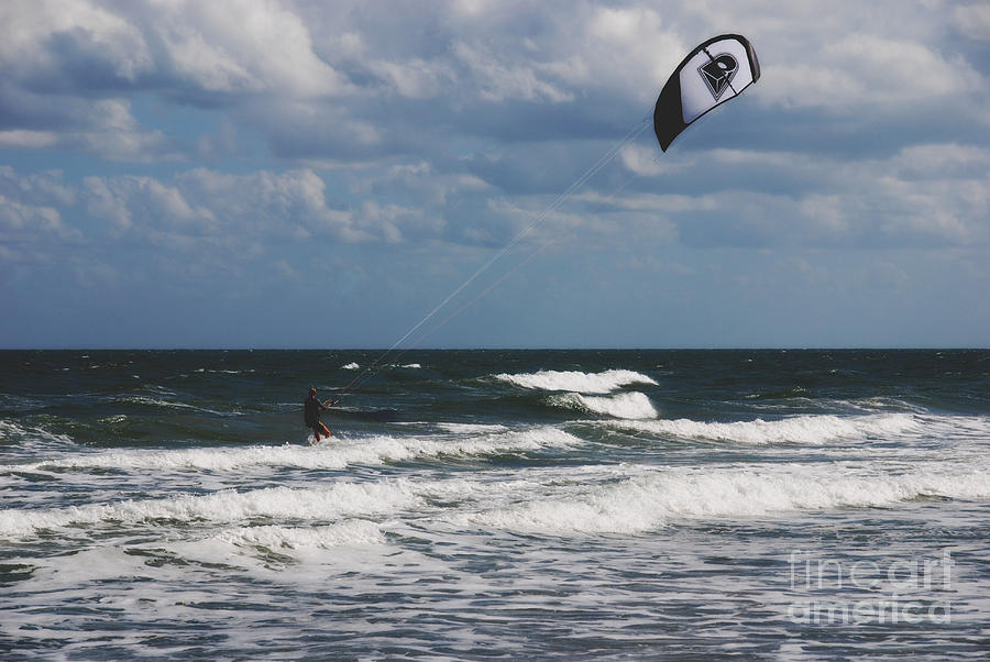October Beach Kite Surfer Photograph  - October Beach Kite Surfer Fine Art Print