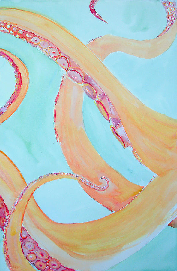 Octopus Triptych 2 Painting  - Octopus Triptych 2 Fine Art Print