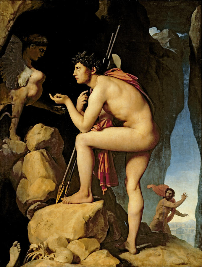 Oedipus And The Sphinx Painting  - Oedipus And The Sphinx Fine Art Print