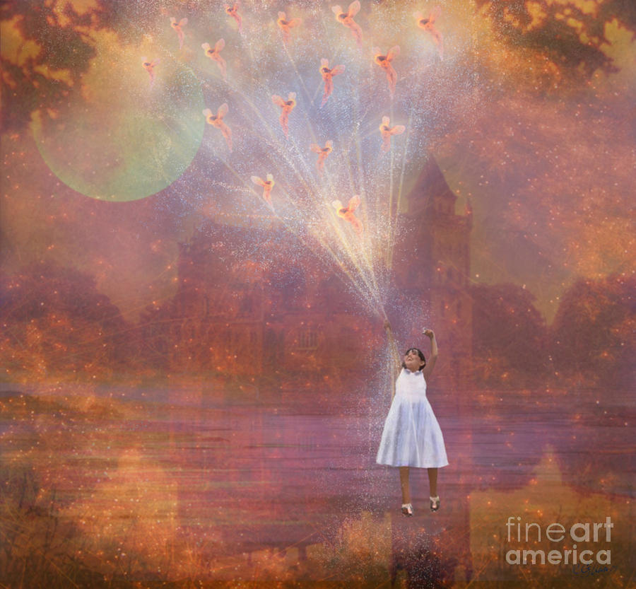 Off To Fairy Land - By Way Of Fairyloons Painting  - Off To Fairy Land - By Way Of Fairyloons Fine Art Print