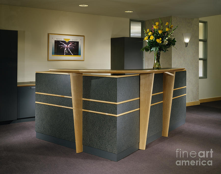 architectural detail photograph office building reception desk by robert pisano building an office desk