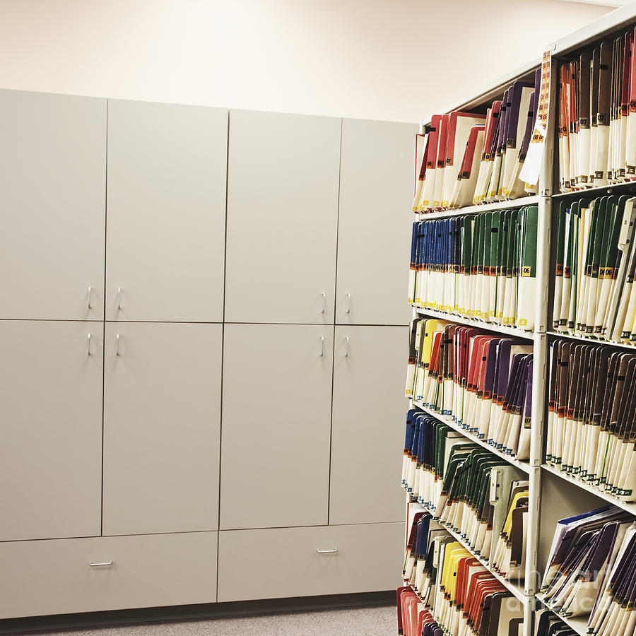 Office Cabinets And Colorful Files Photograph