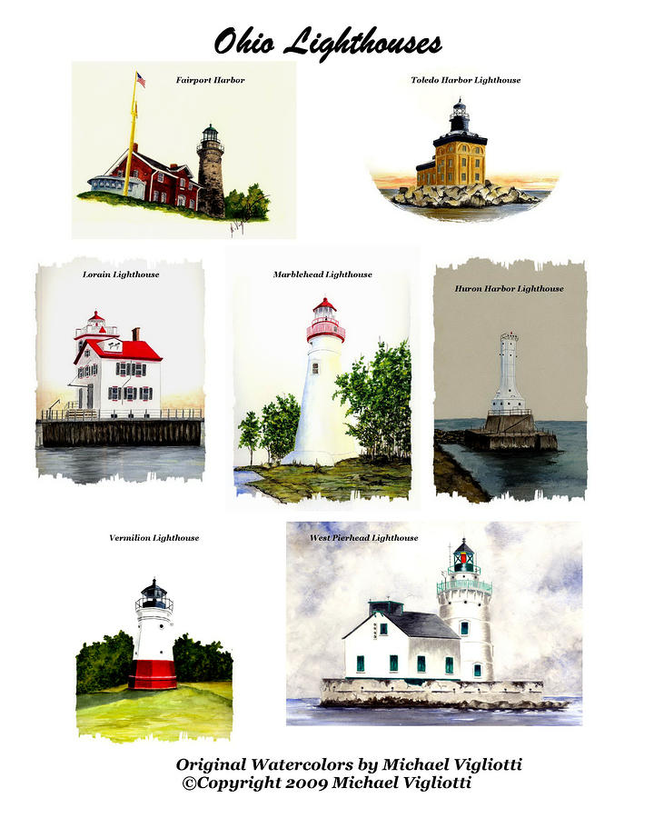 Ohio Lighthouses Collage Painting  - Ohio Lighthouses Collage Fine Art Print