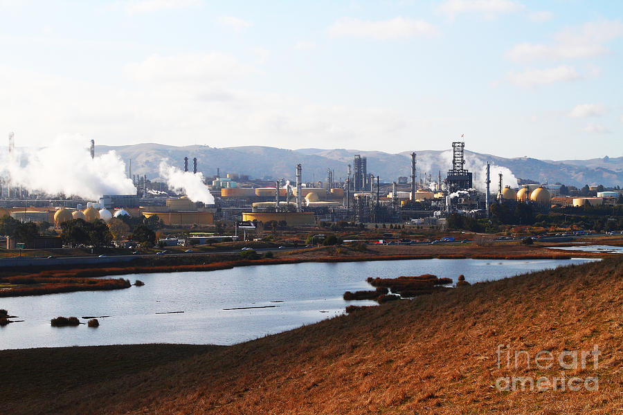 Oil Refinery Industrial Plant In Martinez California . 7d10393 Photograph