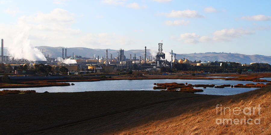 Oil Refinery Industrial Plant In Martinez California . 7d10398 Photograph