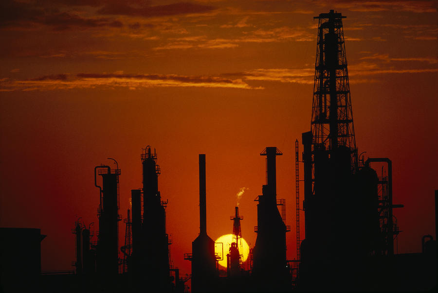 Oil Refinery Silhouetted Photograph  - Oil Refinery Silhouetted Fine Art Print