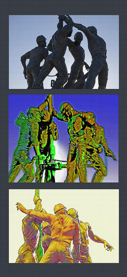 Oil Riggers Photograph - Oil Riggers Triptych by Steve Ohlsen